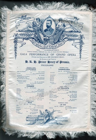Gala Performance Program Prince Henry of Prussia in New York, 1902 - Met Opera Program in Silk - Tamino Autographs