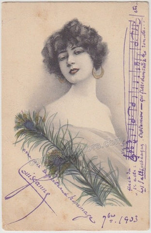 Ganné, Louis-Gaston - Signed Postcard with Music Quote