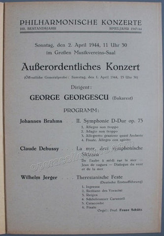 Georgescu, Georges - Vienna Philharmonic Orch. Program 1944