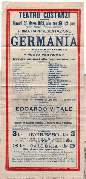 Germania - First Performance in Rome Playbill 1903