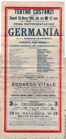 Germania - First Performance in Rome Playbill 1903 - TaminoAutographs.com