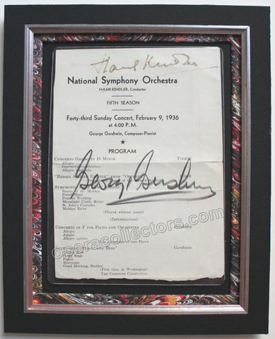 Gershwin, George - Signed Program Conducting and Performing his Own Music - TaminoAutographs.com