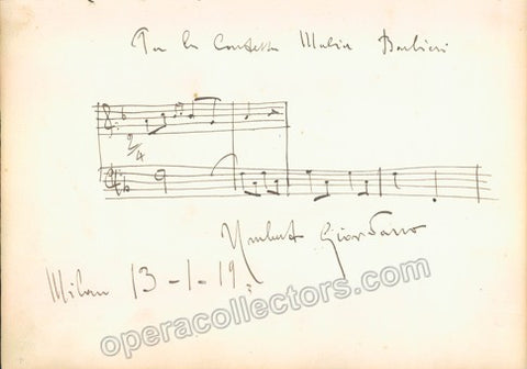 Giordano, Umberto - Autograph Music Quote Signed 1919 - Tamino Autographs