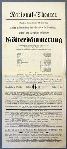 Gotterdammerung - National Theater Munich 1922 Playbill, Robert Heger