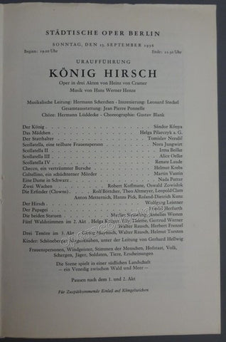 Henze, Hans - Scherchen, Hermann - World Premiere Program Konig Hirsch by Henze 1956 - Tamino Autographs
