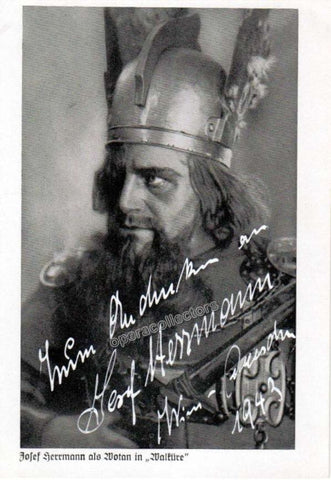 Herrmann, Josef - Signed Photo postcard as Wotan - Tamino Autographs