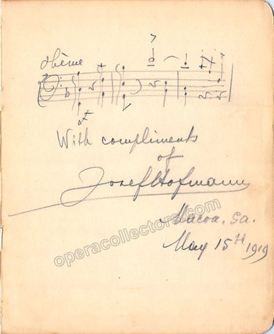 Hofmann, Josef - Autograph Music Quote Signed 1919 + Photo - Tamino Autographs