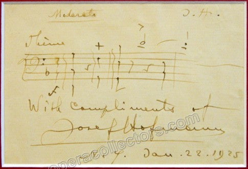 Hofmann, Josef - Autograph Music Quote Signed 1925 - TaminoAutographs.com