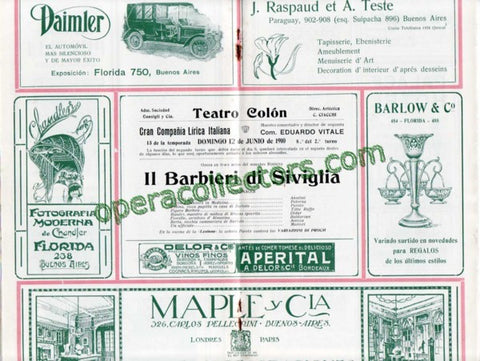 IL BARBIERE DI SIVIGLIA - Teatro Colon program 1910 - Titta Ruffo - TaminoAutographs.com