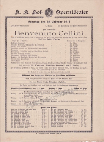 Imperial & Royal Court Opera Playbill - Benvenuto Cellini - Feb. 25th, 1911