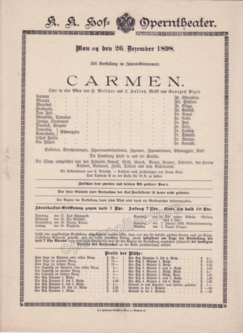 Imperial & Royal Court Opera Playbill - Carmen - Dec. 26th, 1898