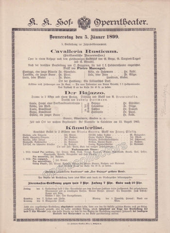 Imperial & Royal Court Opera Playbill - Cavalleria Rusticana, Pagliacci, Kunstlerlist - Jan. 5th, 1899
