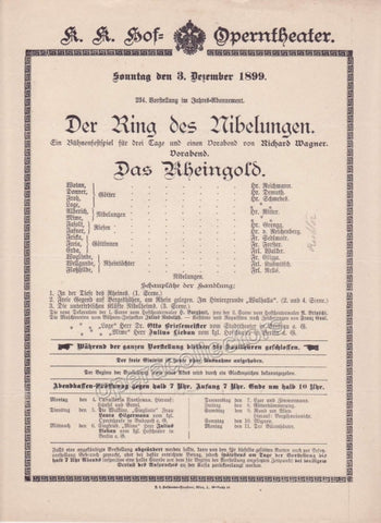 Imperial & Royal Court Opera Playbill - Das Rheingold - Dec. 3rd, 1899