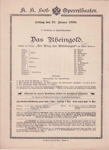 Imperial & Royal Court Opera Playbill - Das Rheingold - Jan. 21st, 1898