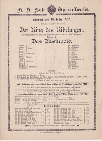 Imperial & Royal Court Opera Playbill - Das Rheingold - March 15th, 1902