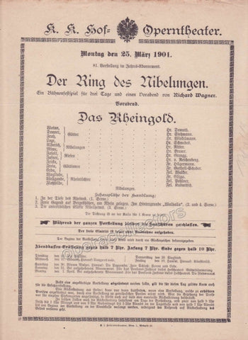 Imperial & Royal Court Opera Playbill - Das Rheingold - March 25th, 1901
