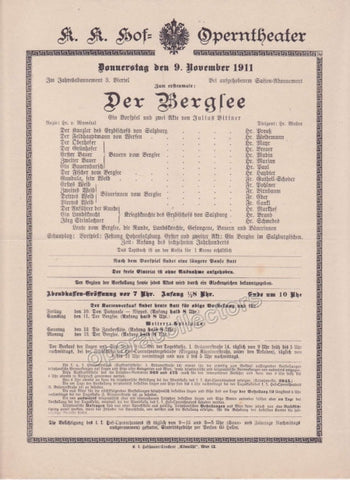 Imperial & Royal Court Opera Playbill - Der Berglee - Nov. 9th, 1911