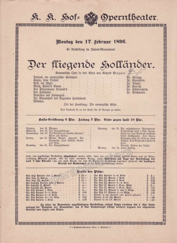 Imperial & Royal Court Opera Playbill - Der Fliegende Hollander - Feb. 17th, 1896 - TaminoAutographs.com