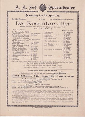 Imperial & Royal Court Opera Playbill - Der Rosenkavalier - Apr. 27th, 1911