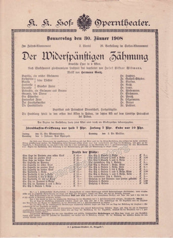 Imperial & Royal Court Opera Playbill - Der Widerspaenstige Zaehmung - Jan. 30th, 1908 - Tamino Autographs