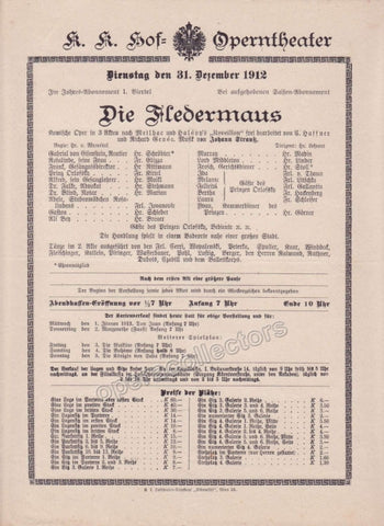 Imperial & Royal Court Opera Playbill - Die Fledermaus - Dec. 31st, 1912 - TaminoAutographs.com