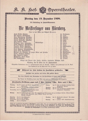 Imperial & Royal Court Opera Playbill - Die Meistersinger von Nurnberg - Dec. 19th, 1898 - Tamino Autographs