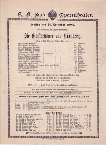 Imperial & Royal Court Opera Playbill - Die Meistersinger von Nurnberg - Dec. 26th, 1902