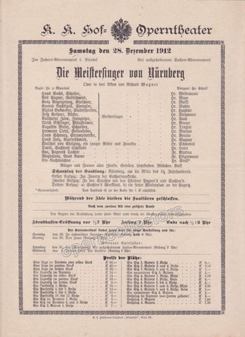 Imperial & Royal Court Opera Playbill - Die Meistersinger von Nurnberg - Dec. 28th, 1912