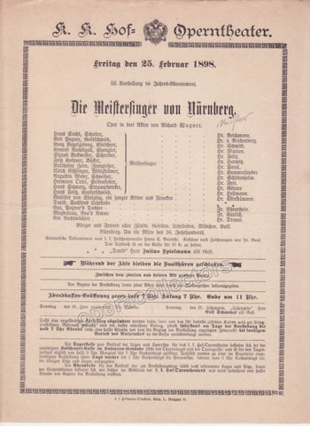 Imperial & Royal Court Opera Playbill - Die Meistersinger von Nurnberg - Feb. 25th, 1898