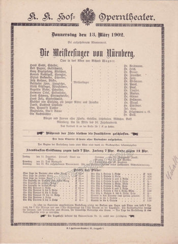 Imperial & Royal Court Opera Playbill - Die Meistersinger von Nurnberg - March 13th, 1902