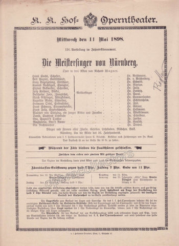 Imperial & Royal Court Opera Playbill - Die Meistersinger von Nurnberg - May 11th, 1898 - Tamino Autographs