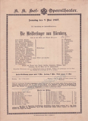 Imperial & Royal Court Opera Playbill - Die Meistersinger von Nurnberg - May 8th, 1897 - Tamino Autographs