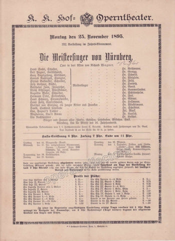Imperial & Royal Court Opera Playbill - Die Meistersinger von Nurnberg - Nov. 25th, 1895