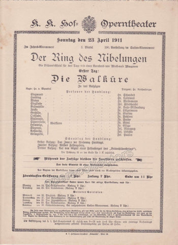 Imperial & Royal Court Opera Playbill - Die Walkure - Apr. 23rd, 1911 - Tamino Autographs