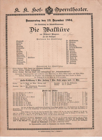 Imperial & Royal Court Opera Playbill - Die Walkure - Dec. 13th, 1894 - Tamino Autographs