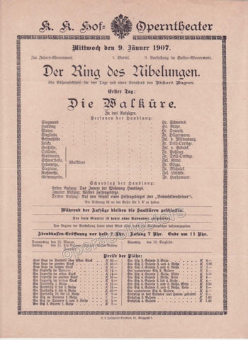Imperial & Royal Court Opera Playbill - Die Walkure - Dec. 5th, 1899