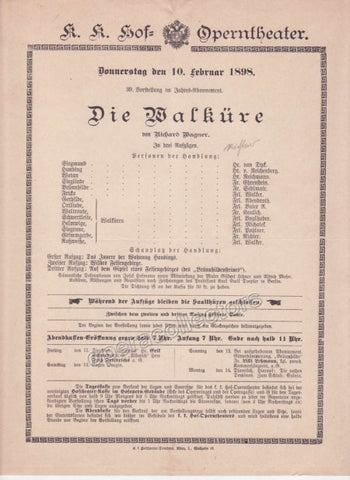 Imperial & Royal Court Opera Playbill - Die Walkure - Feb. 10th, 1898