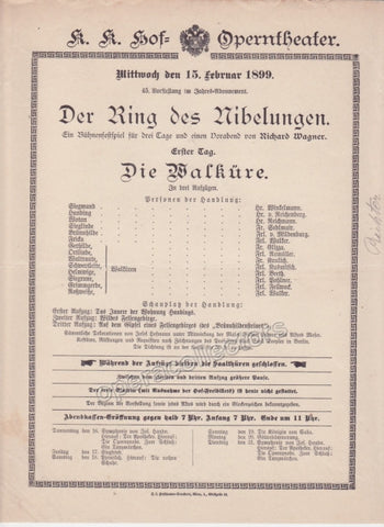 Imperial & Royal Court Opera Playbill - Die Walkure - Feb. 15th, 1899