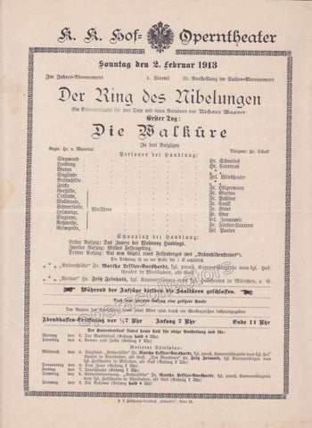 Imperial & Royal Court Opera Playbill - Die Walkure - Feb. 2nd, 1913