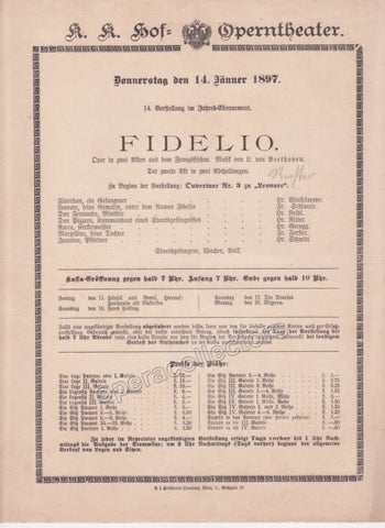 Imperial & Royal Court Opera Playbill - Die Walkure - Jan. 9th, 1907 - TaminoAutographs.com