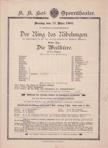 Imperial & Royal Court Opera Playbill - Die Walkure - March 17th, 1902 - TaminoAutographs.com