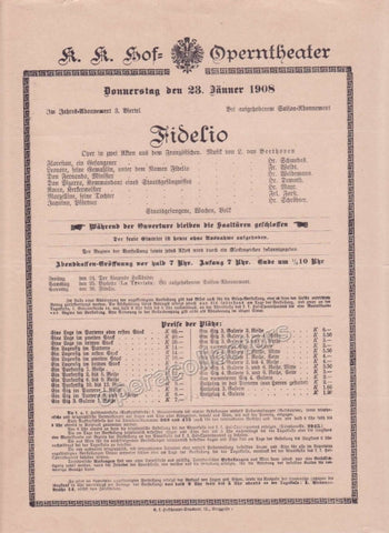 Imperial & Royal Court Opera Playbill - Fidelio - Jan. 23rd, 1908 - Tamino Autographs