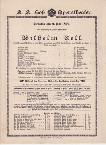 Imperial & Royal Court Opera Playbill - Gotterdammerung - Dec. 8th, 1899 - TaminoAutographs.com