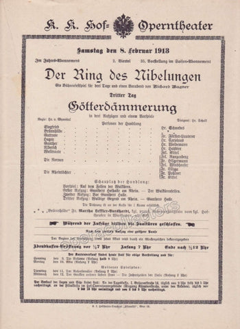 Imperial & Royal Court Opera Playbill - Gotterdammerung - Feb. 8th, 1913 - Tamino Autographs