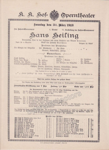 Imperial & Royal Court Opera Playbill - Gotterdammerung - March 10th, 1910