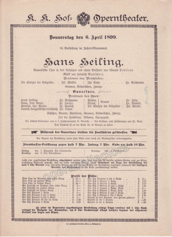 Imperial & Royal Court Opera Playbill - Hans Heiling Apr. 6th, 1899 - Tamino Autographs