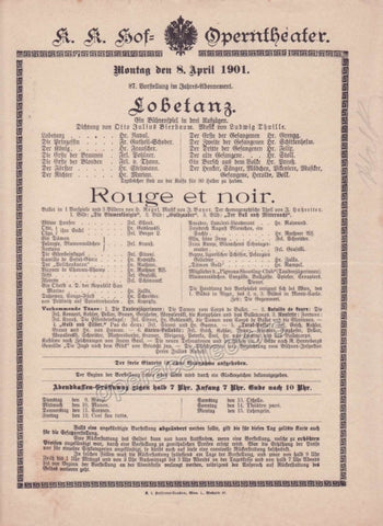 Imperial & Royal Court Opera Playbill - Lobetanz, Rouge et Noir - Apr. 8th, 1901