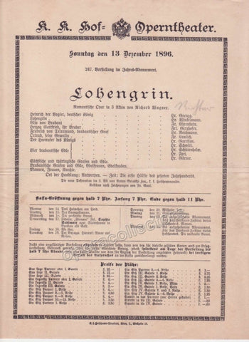 Imperial & Royal Court Opera Playbill - Lohengrin - Dec. 13th, 1896