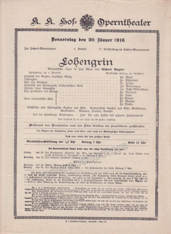 Imperial & Royal Court Opera Playbill - Lohengrin - Jan. 20th, 1916