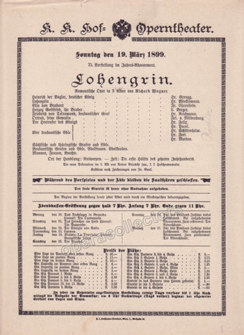 Imperial & Royal Court Opera Playbill - Lohengrin - March 19th, 1899 - Tamino Autographs